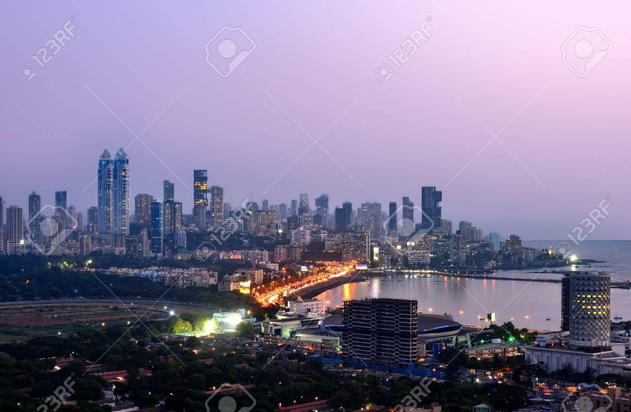 Aerian view of mumbai by night at sunset blue hour - 61046685