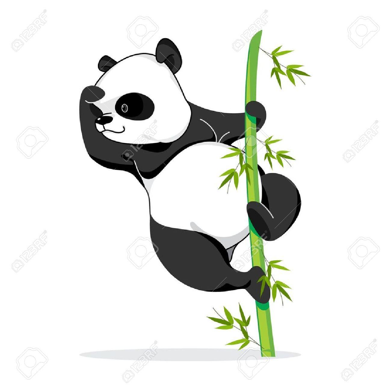 Illustration Of Panda Pose It Climbing A Bamboo To See Something