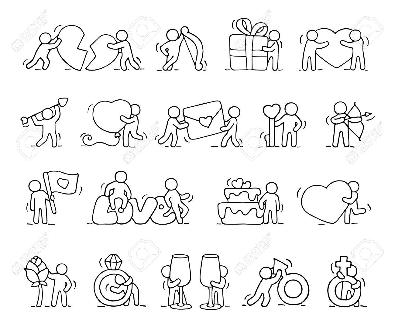 Iconos Románticos De Dibujos Animados Conjunto De Personas Que