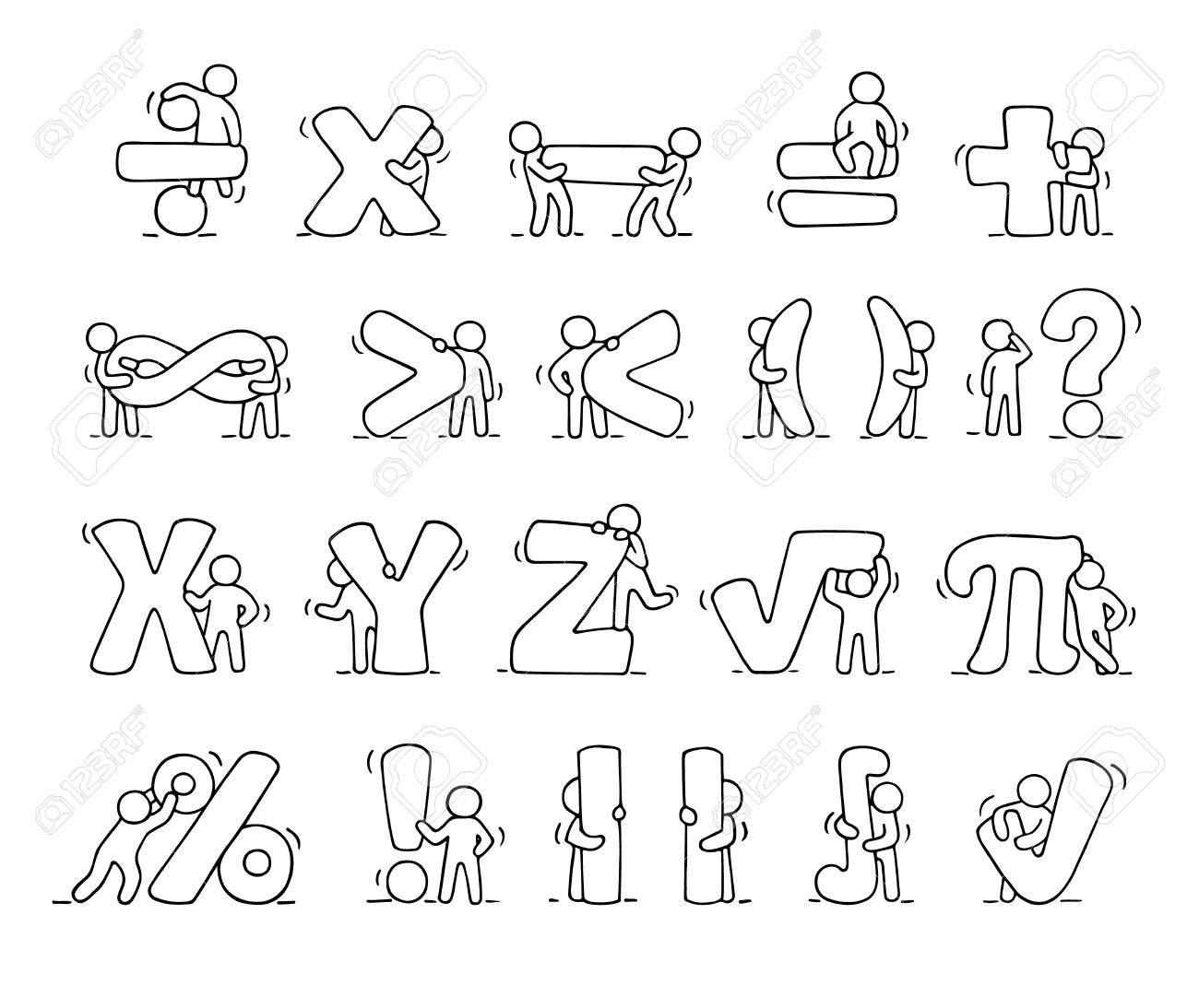 Cartoon Icons Set Of Sketch Working Little People With Mathematical
