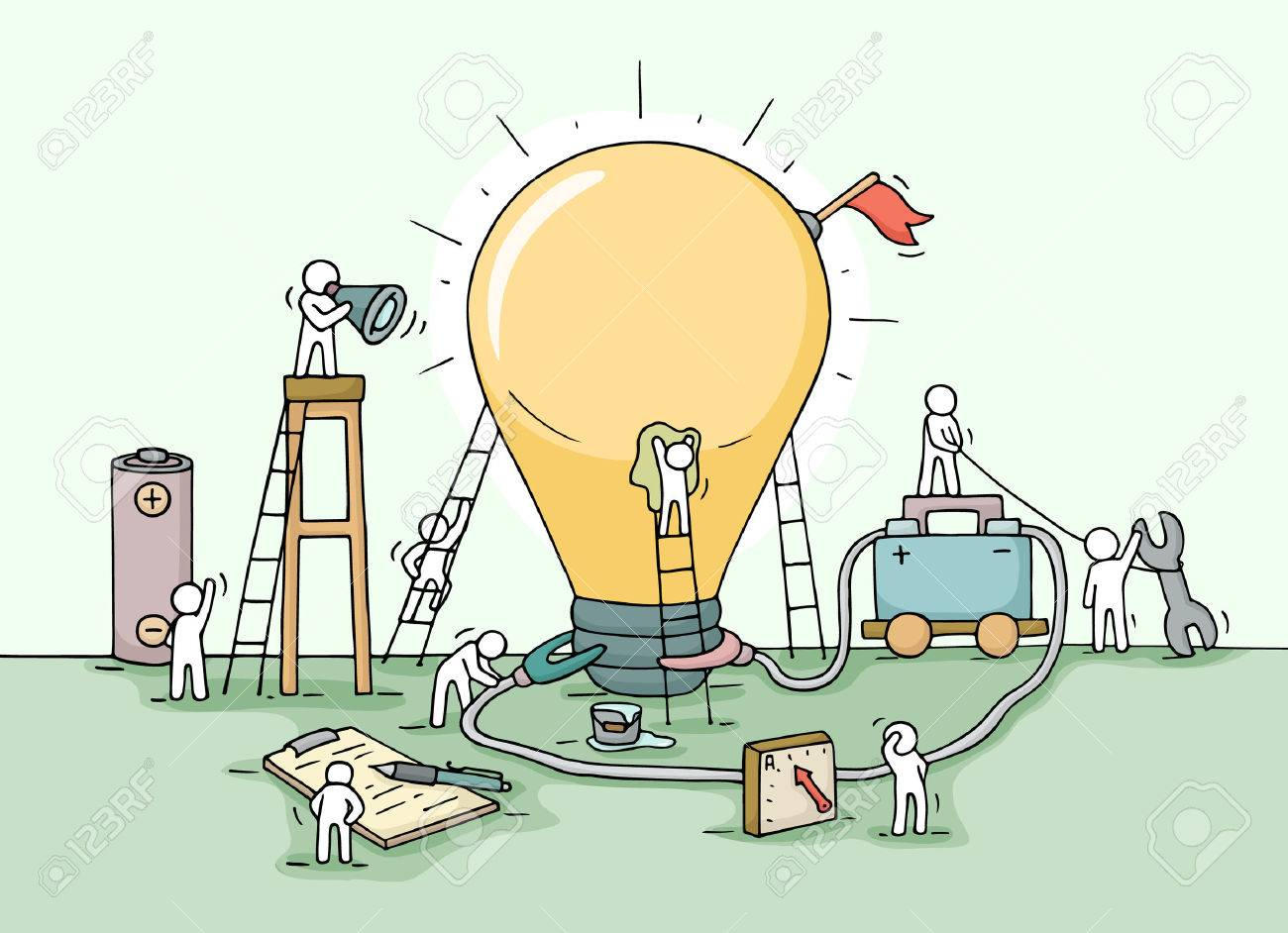 Sketch of lamp idea construction with working little people, battery, flag. Doodle cute miniature of building lighting lamp and preparing for the new creative. Hand drawn cartoon vector illustration for business design and infographic. - 63717942
