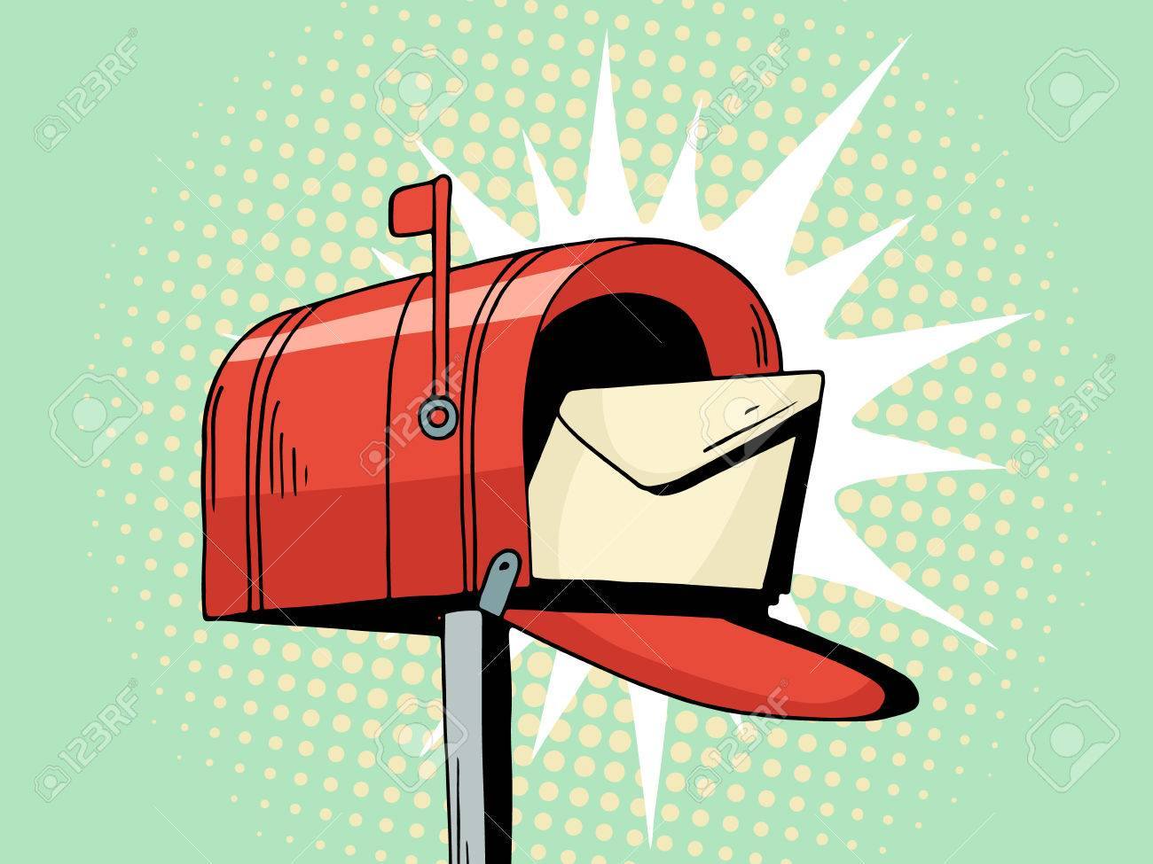 Cartoon Pop Art Red Mailbox Send Letter Comic Hand Drawn