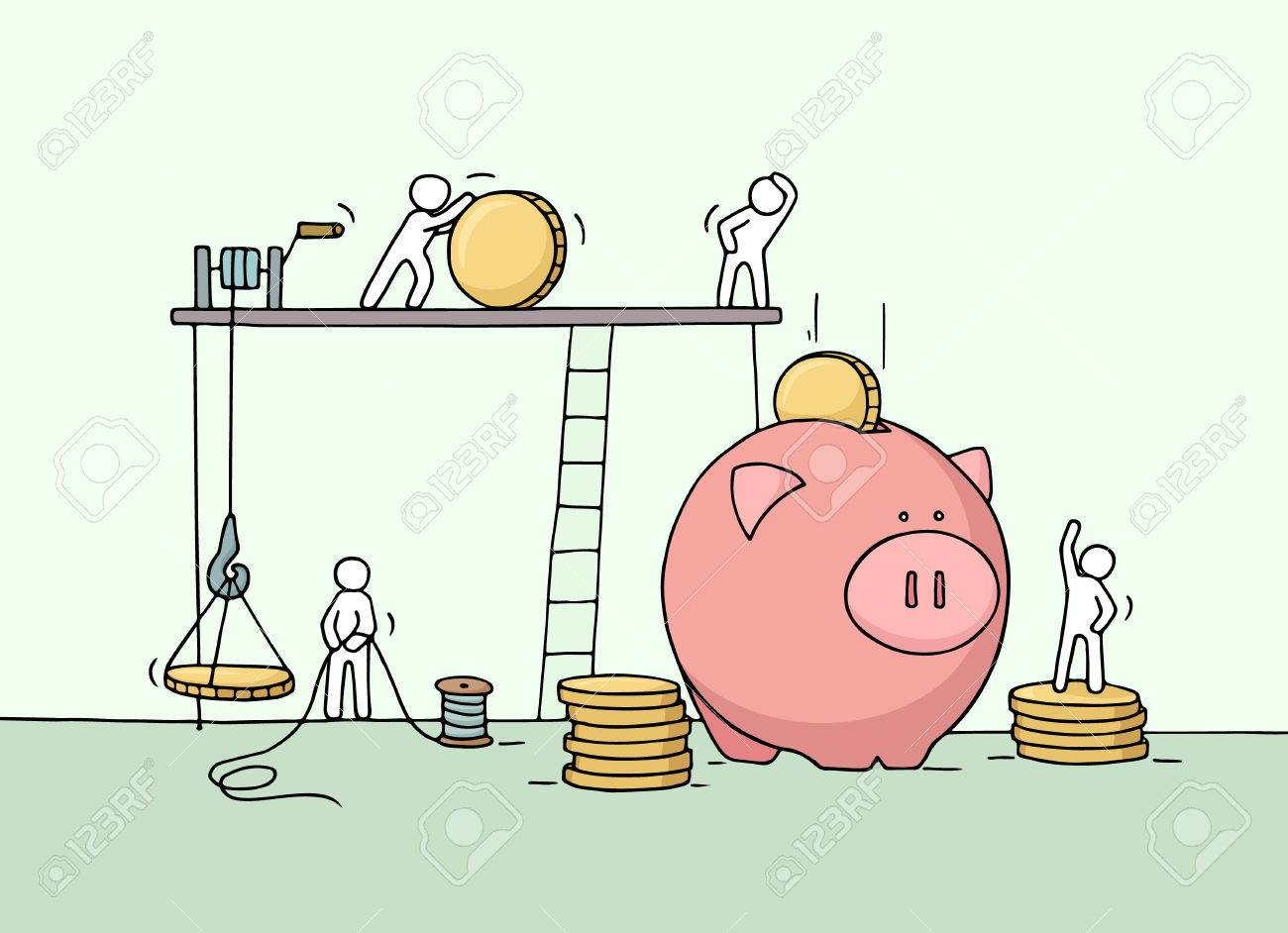 Sketch Of Save Coins In Moneybox With Working Little People