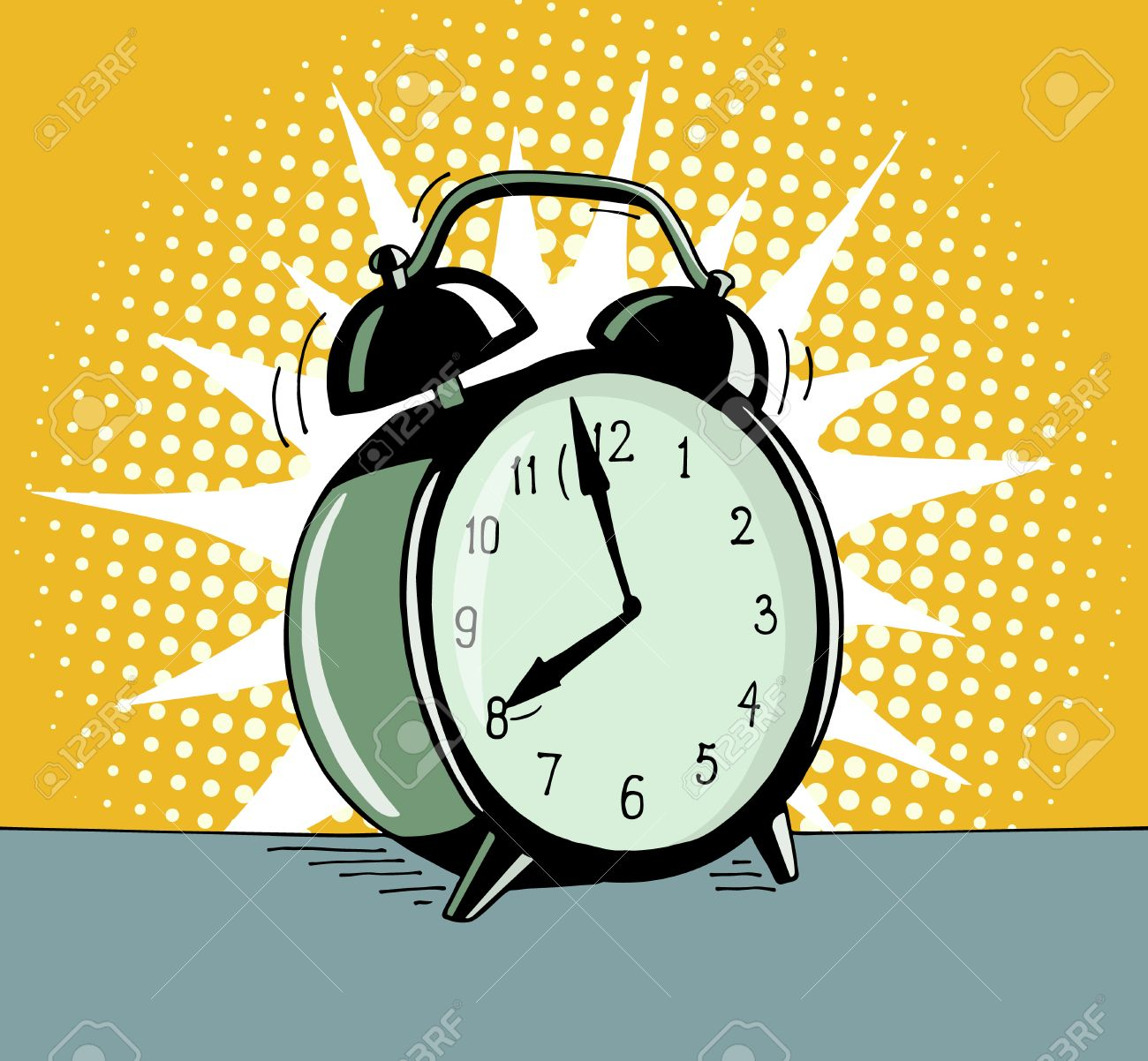 Cartoon pop art alarm clock. Comic retro hand drawn illustration - The alarm clock is ringing to wake up in the morning. Vector isolated on yellow halftone background. - 63718143