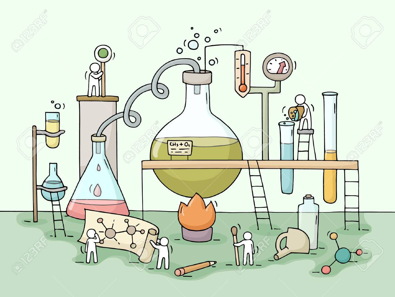 sketch of chemical experiment with working little people beaker