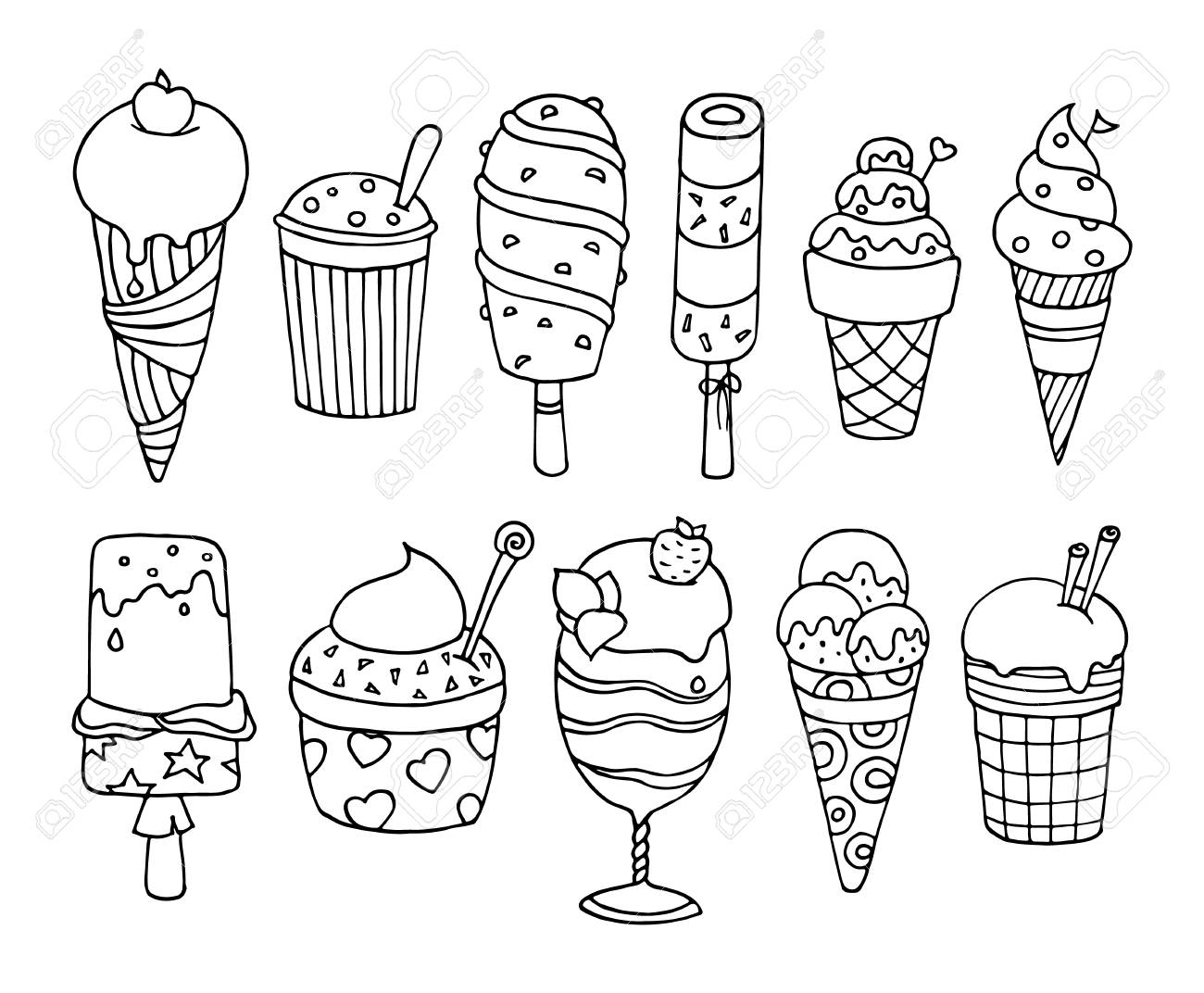 Cute Set Of Tasty Cartoon Ice Cream Collection Of Delicious