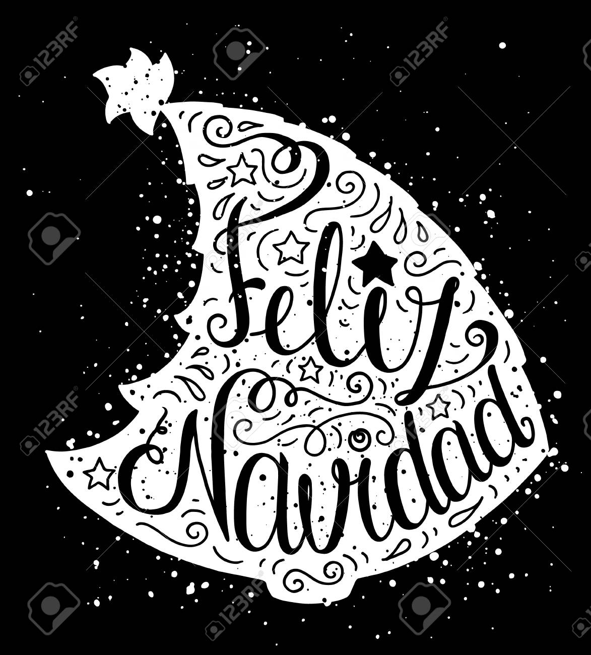 Cartaz De Tipografia Doodle Preto E Branco Com Arvore De Natal
