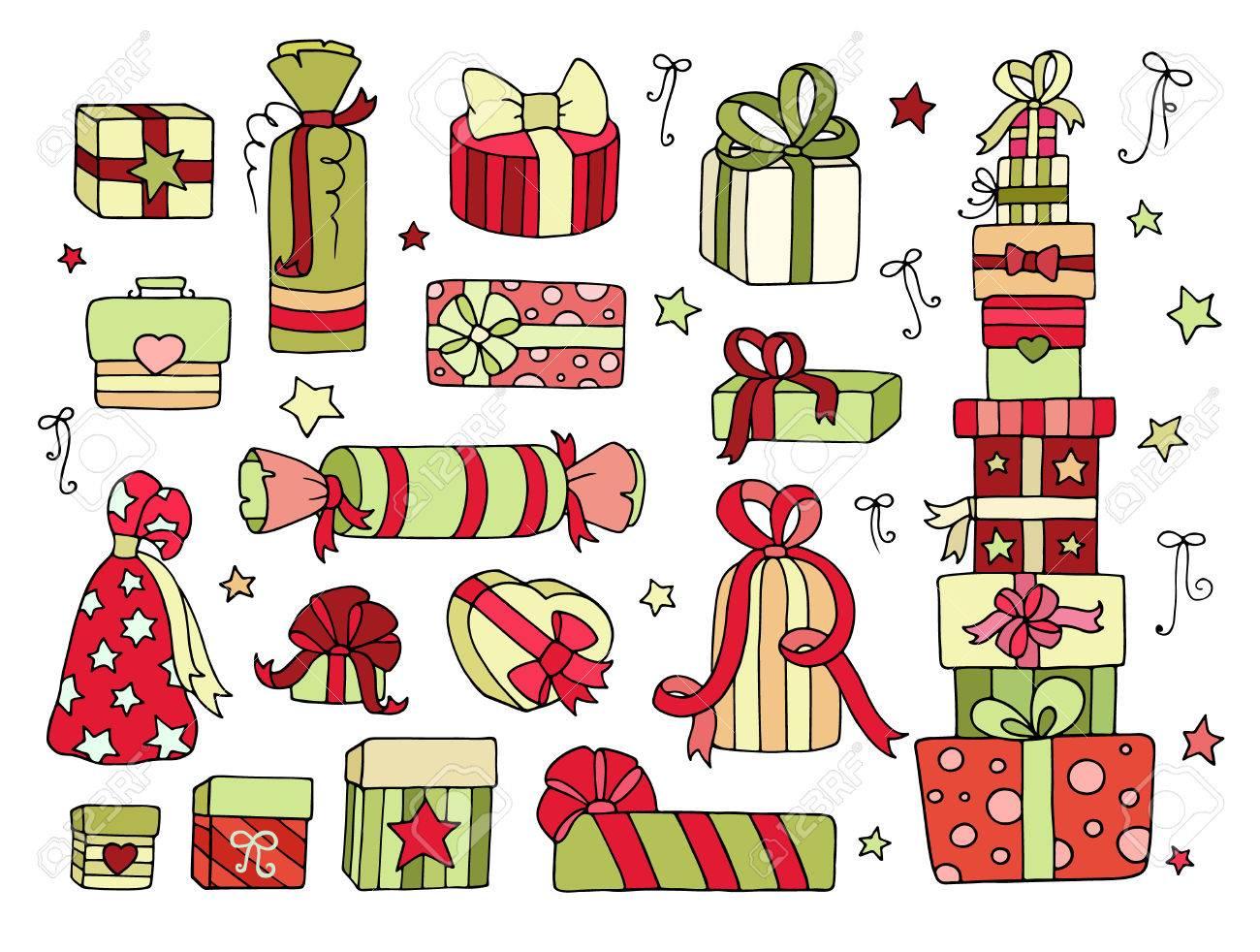 Set Nette Doodle Geschenke-Boxen Für Ihren Winterfest - Weihnachten ...