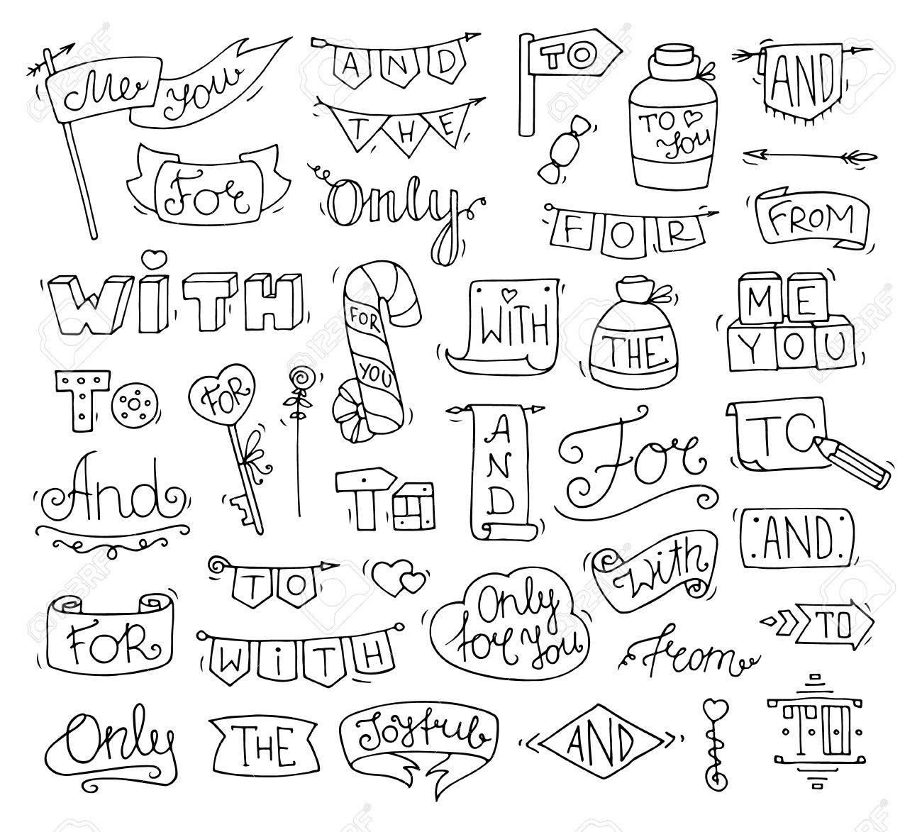 Doodle Calligraphic Funny Catchwords Set For Romantic Design With Cute Objects Hand Lettering Words