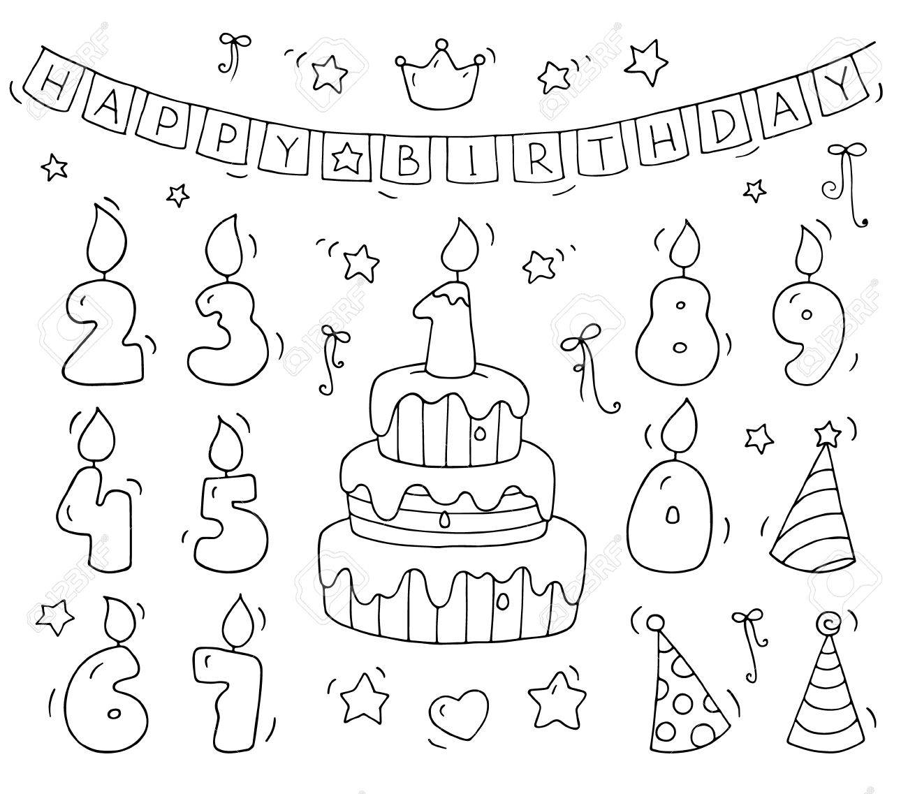 Cute Number Shaped Candles Set Cartoon Birthday Cake And Lighting In The Form Of Numbers Doodle Collection For Party Kids Desigh