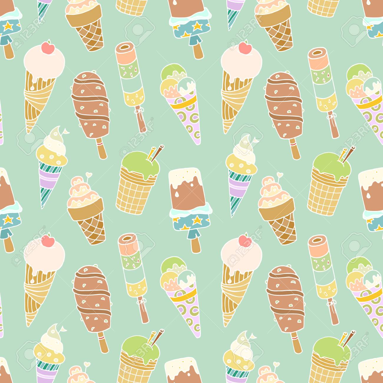 Seamless pattern with cartoon cute ice-creams. Hand-drawn colored vector with blue