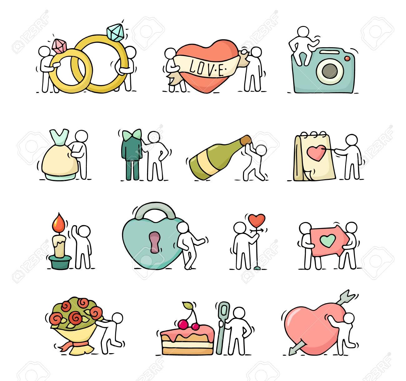 cones de romantismo de desenhos animados conjunto de esboço