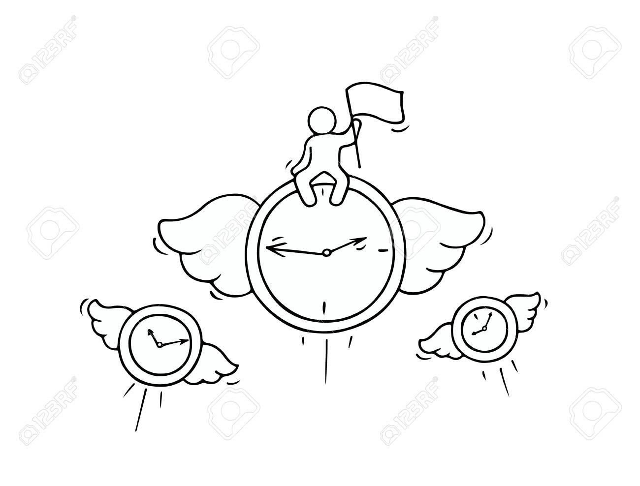 Sketch Of Flying Clocks With Little Worker Doodle Cute Miniature
