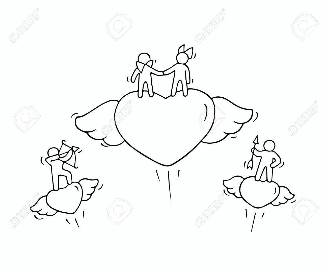 Sketch of flying hearts with cute little people doodle cute miniature romantic scene about love