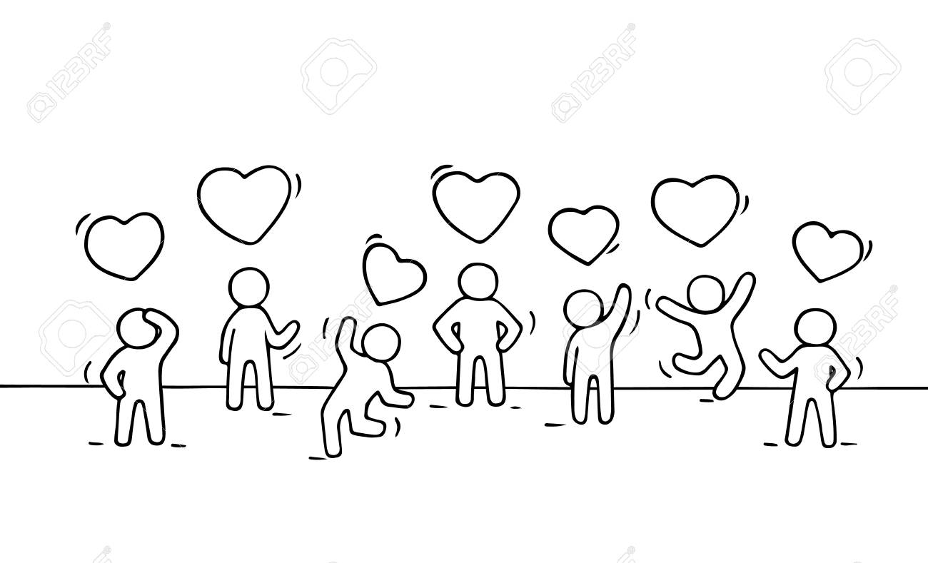 Sketch of working little people with heart signs doodle cute miniature scene of relationships