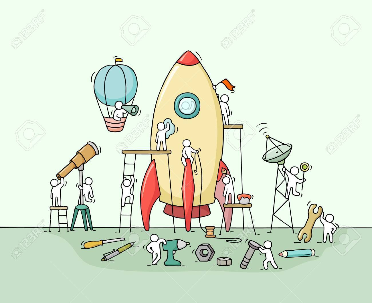 Sketch of working little people with big rocket. Doodle cute miniature scene of workers with startup concept. Hand drawn cartoon illustration for business design and infographic. - 72173296