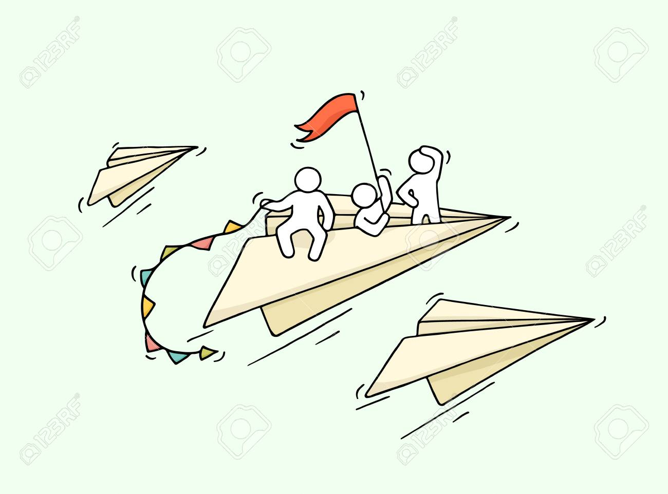 Sketch Of Flying Paper Plane With Little Workers Doodle Cute Royalty Free Cliparts Vectors And Stock Illustration Image 72940405