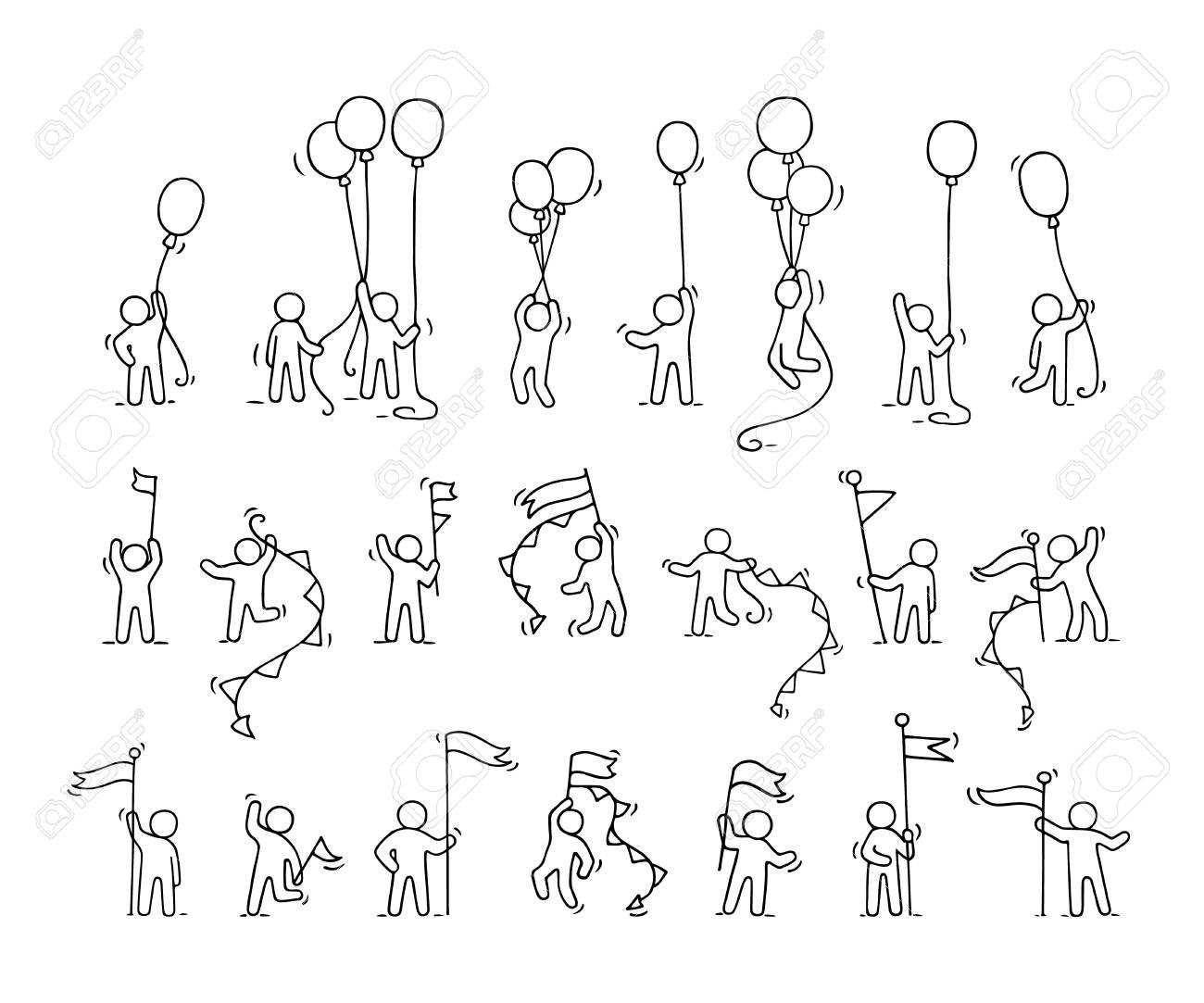 cones de desenhos animados conjunto de esboço de pessoas pequenas