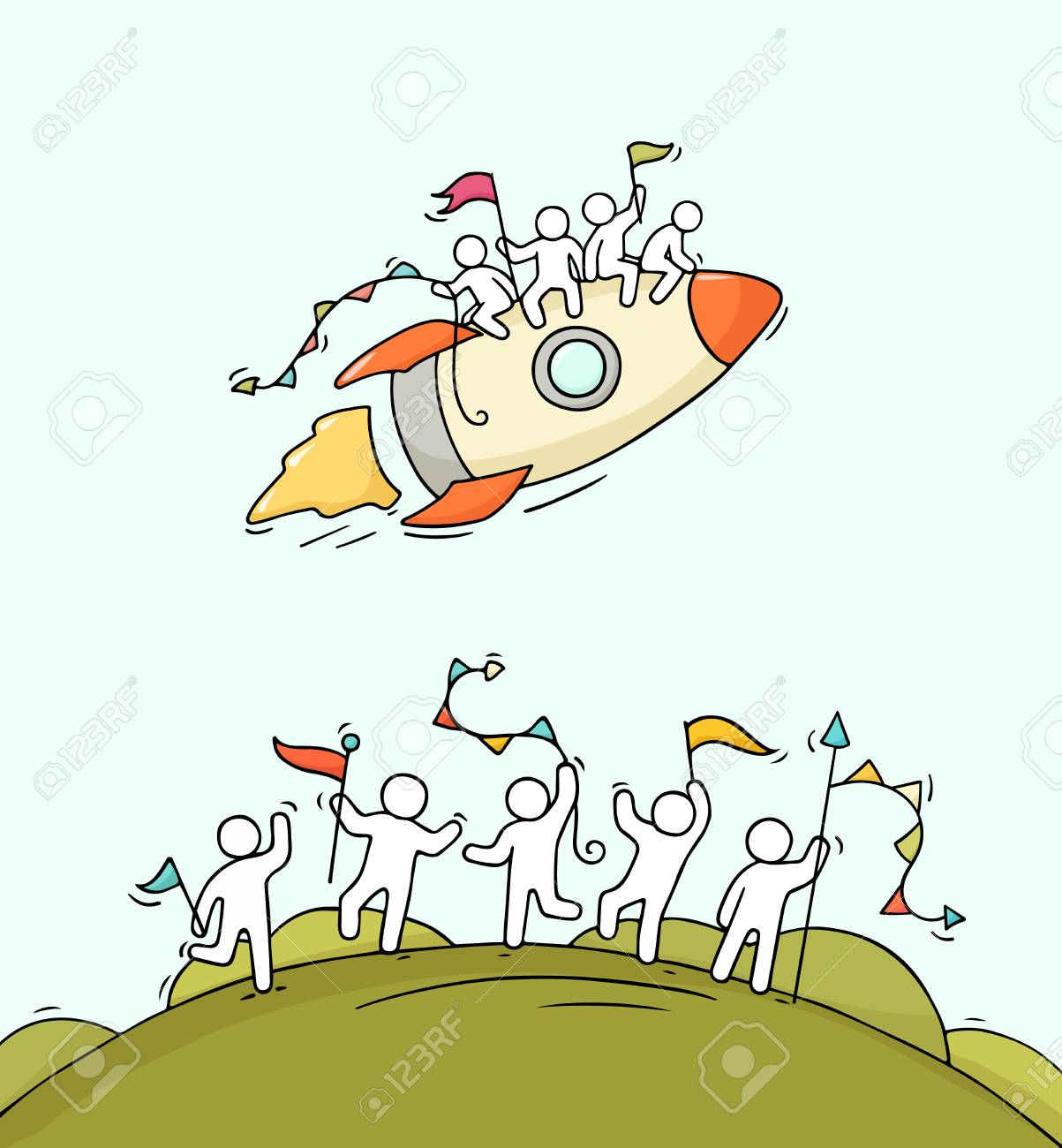 ロケットに始まる幸せな小さな人を漫画します労働者と宇宙船の落書き