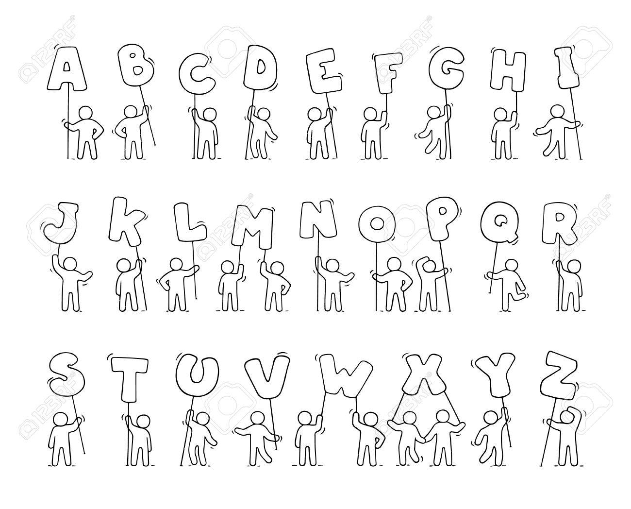 Cartoon icons set of sketch little people with letters doodle cartoon icons set of sketch little people with letters doodle cute workers with alfabet thecheapjerseys Choice Image
