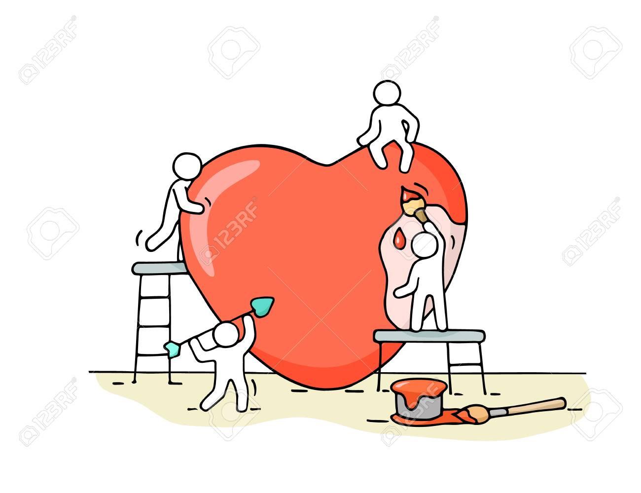 Sketch of working little people with big love sign. - 96448431
