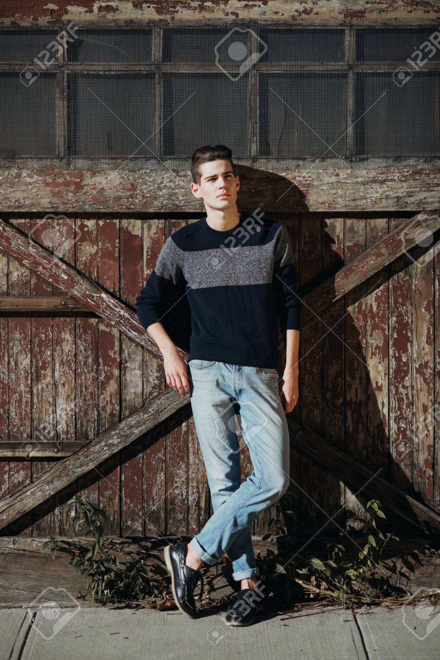 Attractive Young Male Model Posing Outdoors Dressed In Jeans Stock Photo Picture And Royalty Free Image Image 72385767