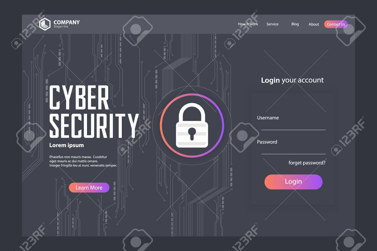 Cyber Security Landing Page Vector Template Design - 109946286