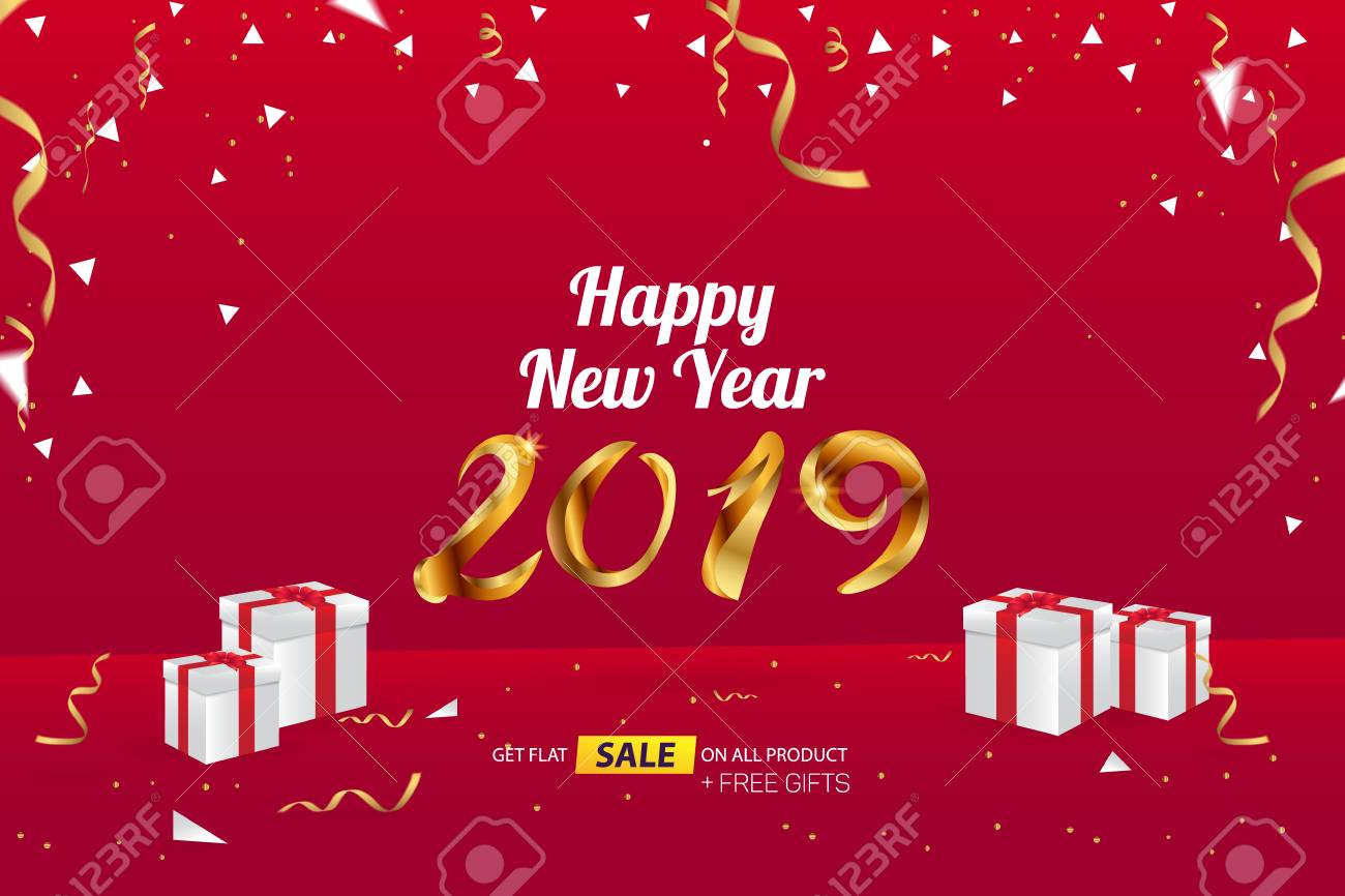 happy new year 2019 sale banner advertising vector template design stock vector 110643713