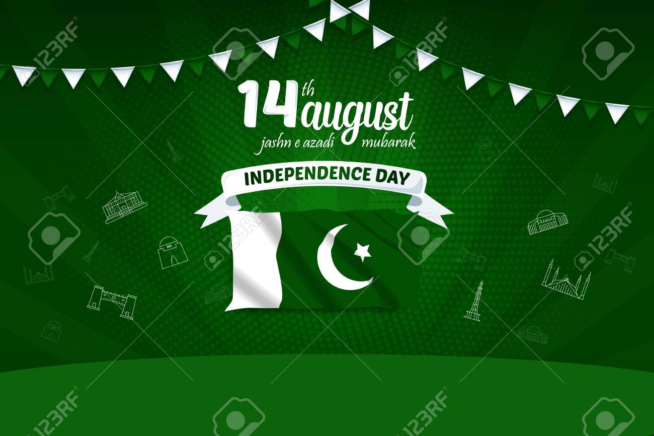 14 August Jashn e Azadi Mubarak Pakistan Independence Day Vector Background Illustration - 127686501
