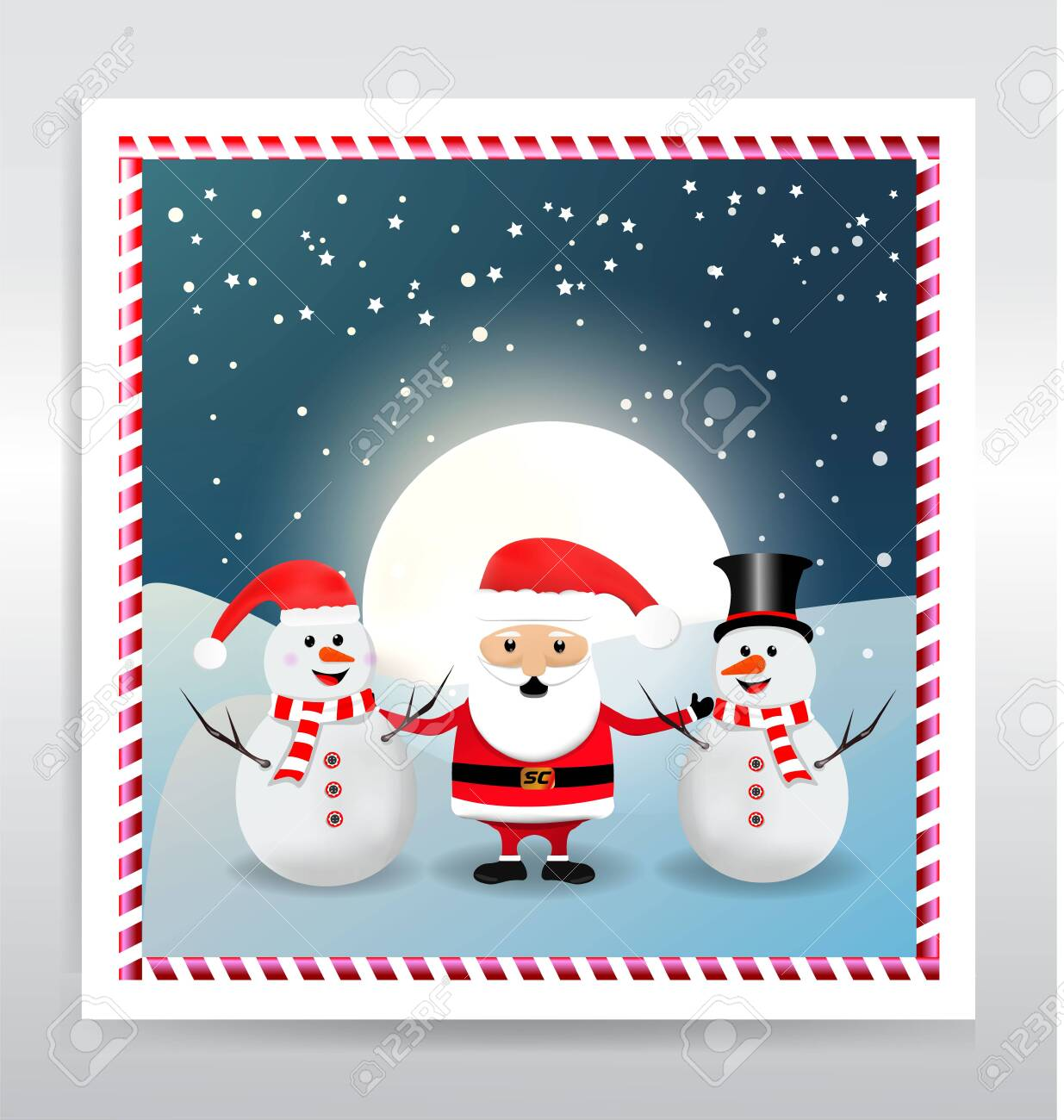 Santa Claus with snowman abstract - 134809176