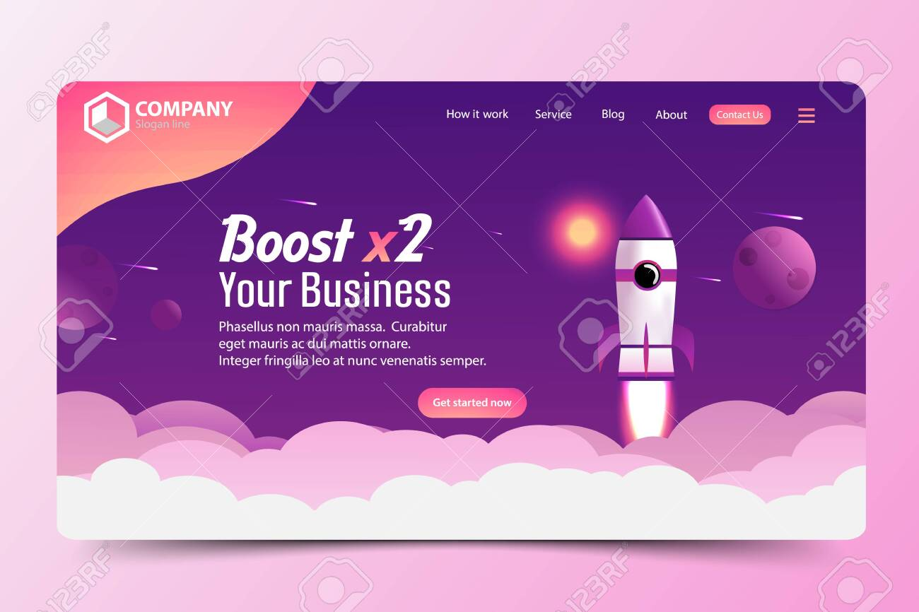 Boost Business Website Landing Page Vector Template Design Concept - 135502954