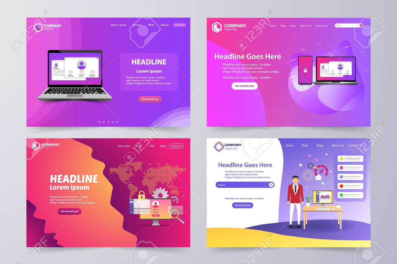 Collection of landing page Modern vector theme template design - 135833737