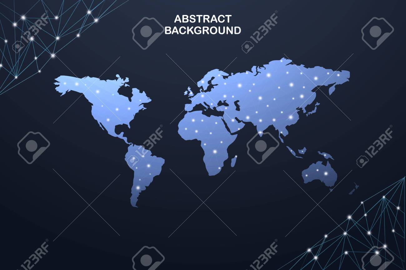 Global network connection. World map point and line composition concept - 136344196