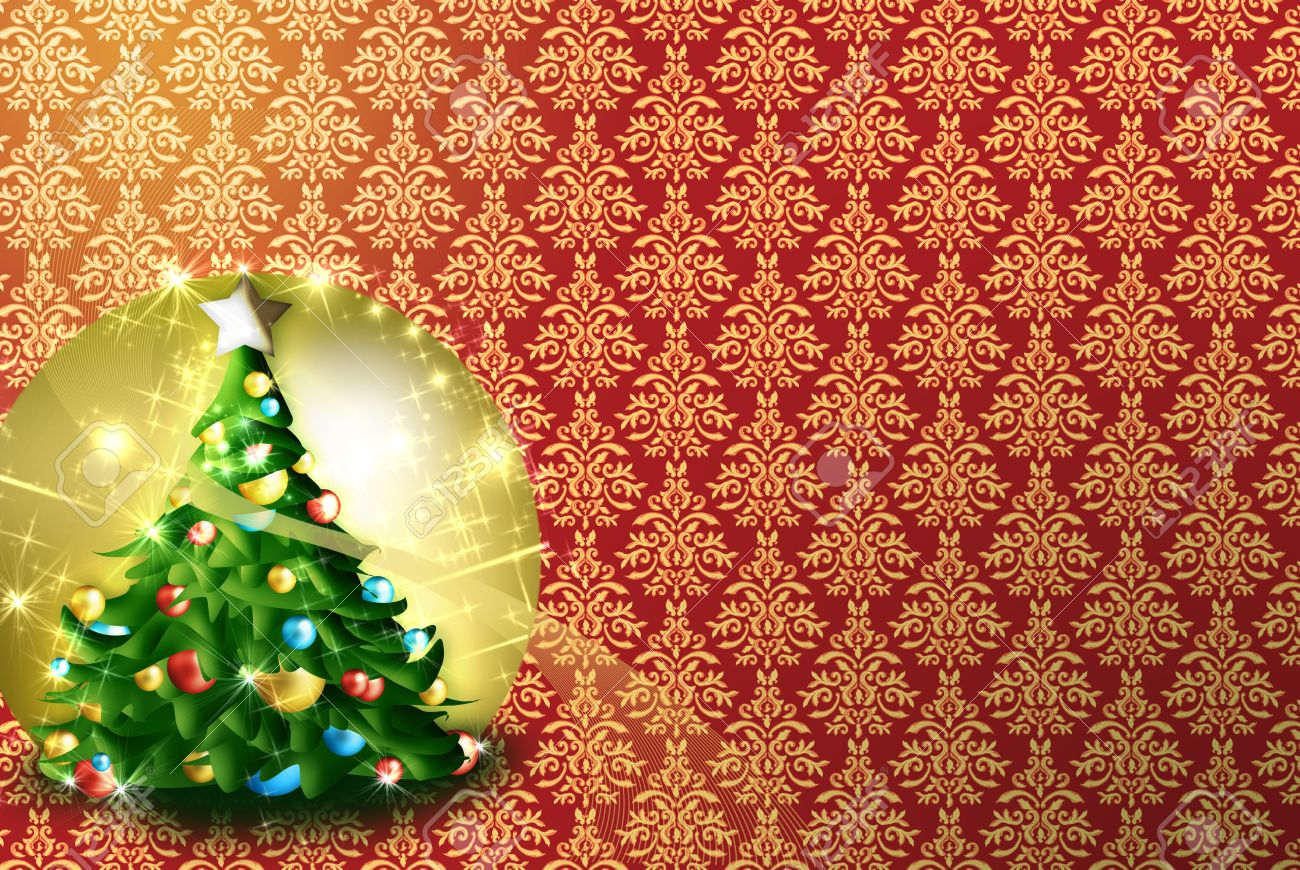 greeting card, background patterns. designs in gold and red. golden colored tree ornaments and Christmas lights Stock Photo - 8222158