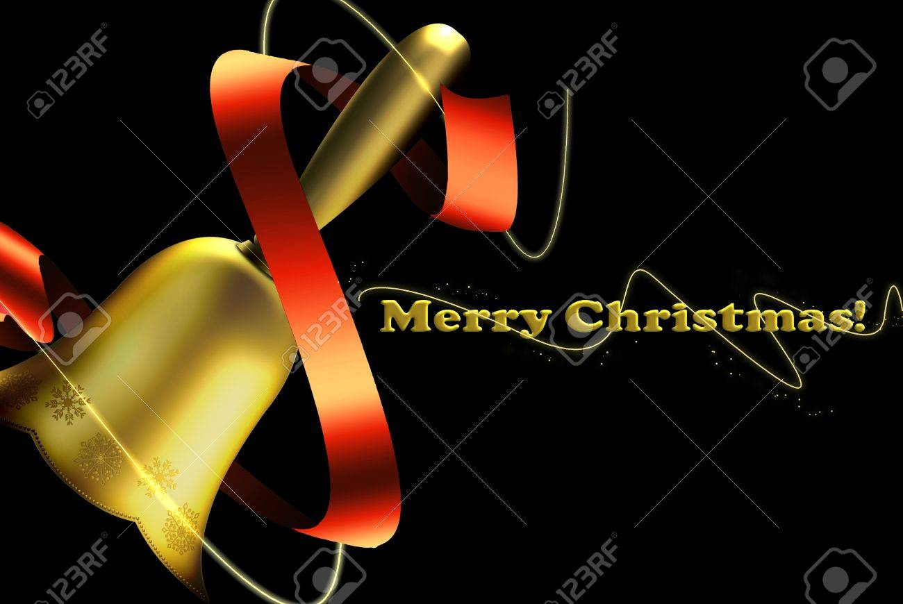 bronze bell. golden color with pictures of stars, black background and text of Christmas. attractive red ribbon Stock Photo - 8222142
