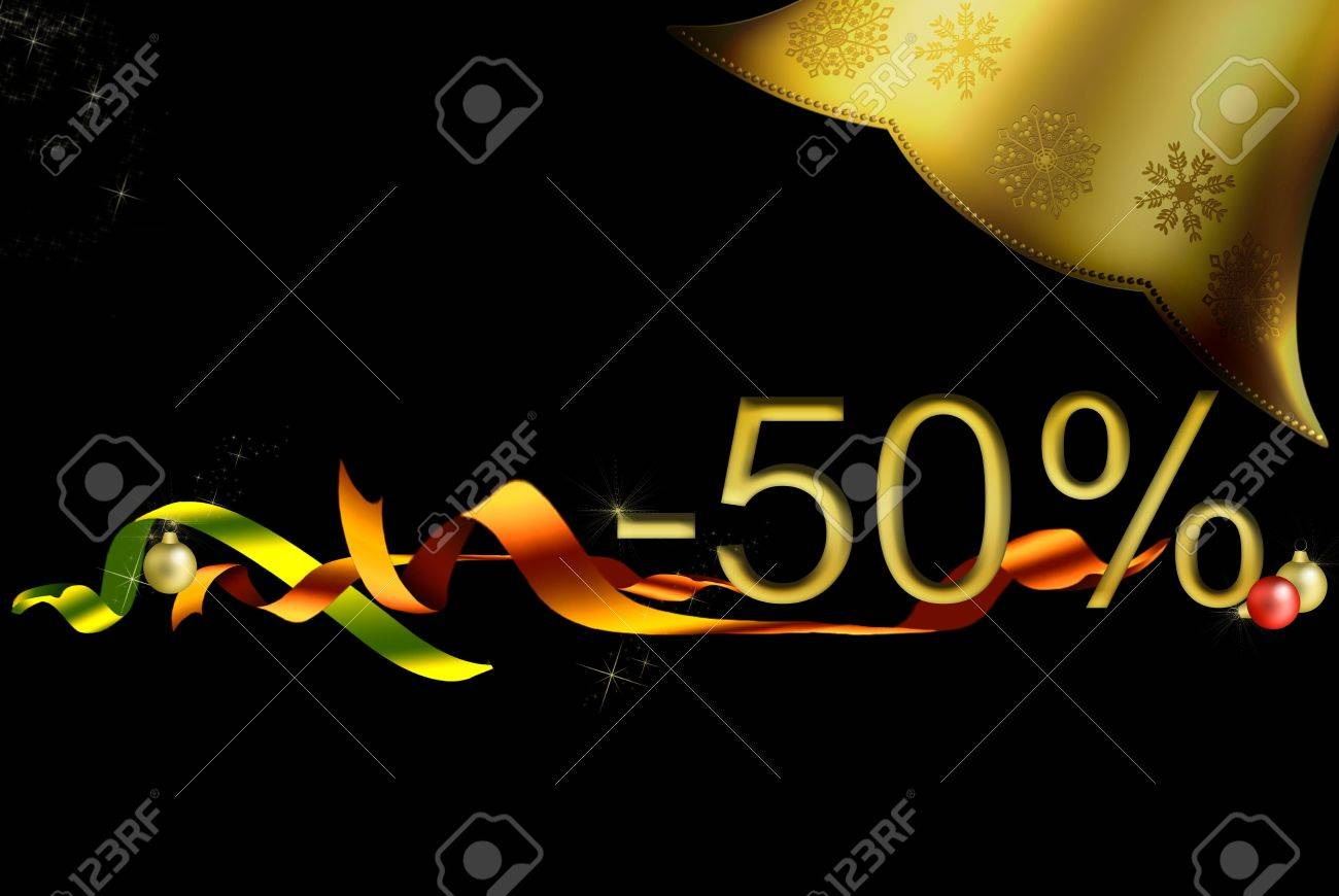 star golden bell card, black background, green and red ribbons discount offers, shops. Stock Photo - 8222133
