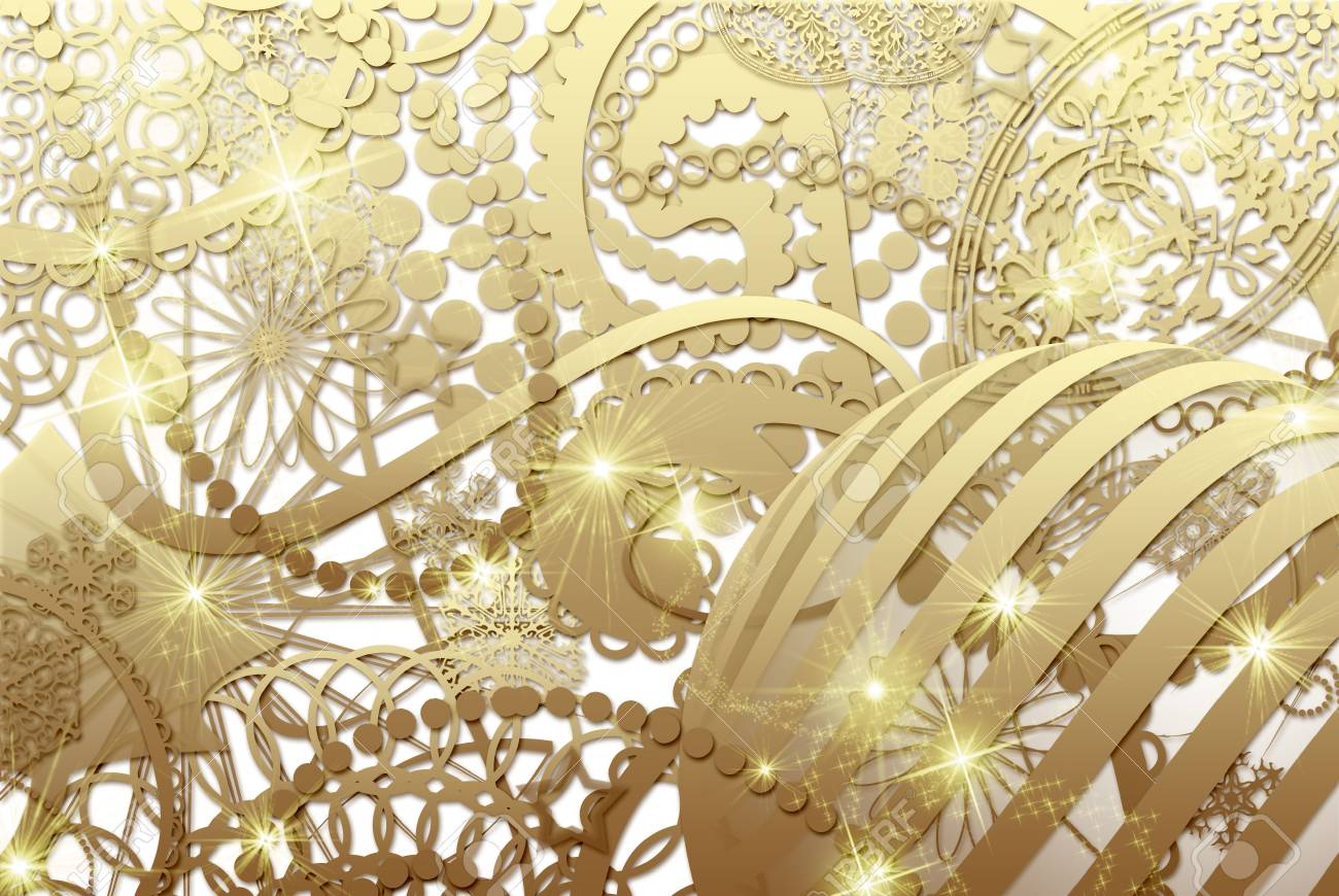 golden christmas collage Stock Photo - 8222143
