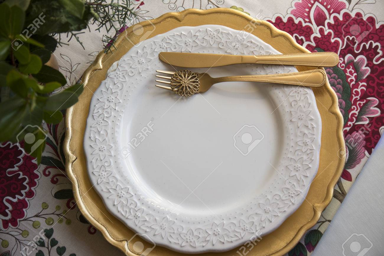 Christmas Place Setting, Table Ready For Lunch, On Golden Plates ...
