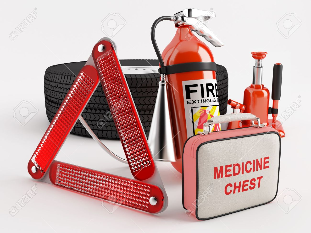 A set consisting of a wheel, fire extinguisher, first aid kit, warning triangle and jack Stock Photo - 14168432