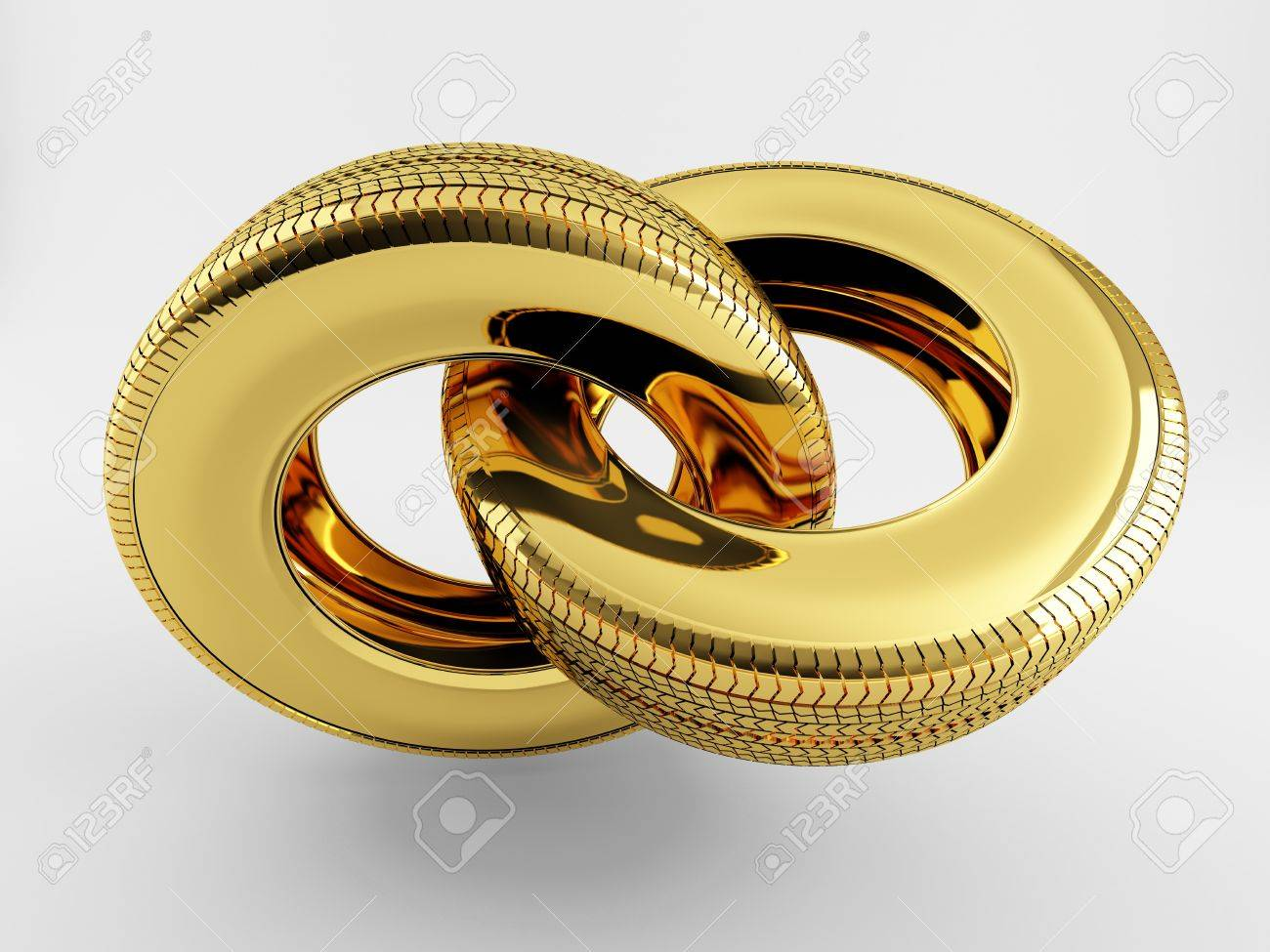 Two tires of gold in the form of a chain link Stock Photo - 14558137