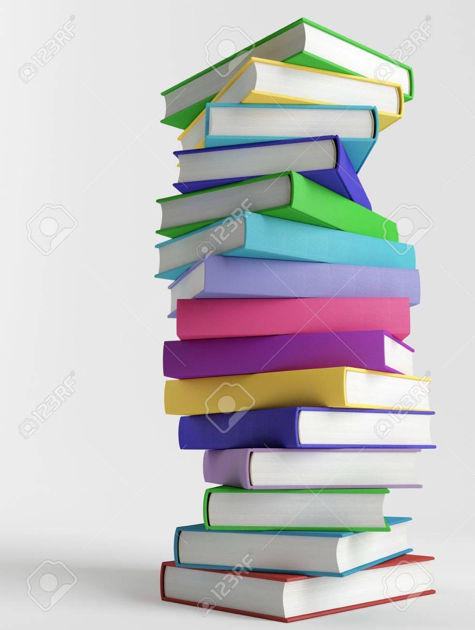 Coloridos Libros Sin Títulos En El Fondo Blanco Fotos, Retratos ...