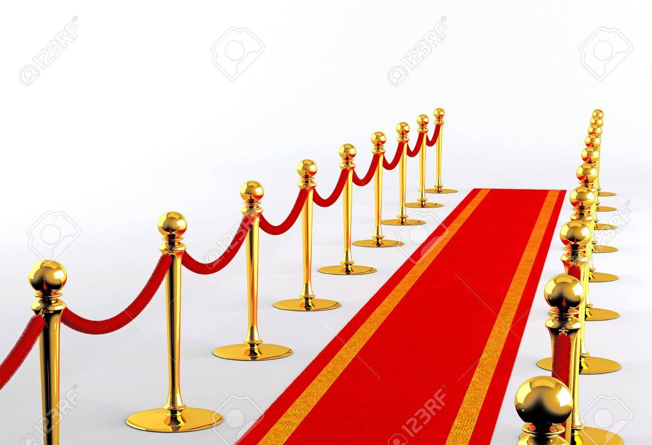 Red carpet with golden fence on a white background Stock Photo - 15786691