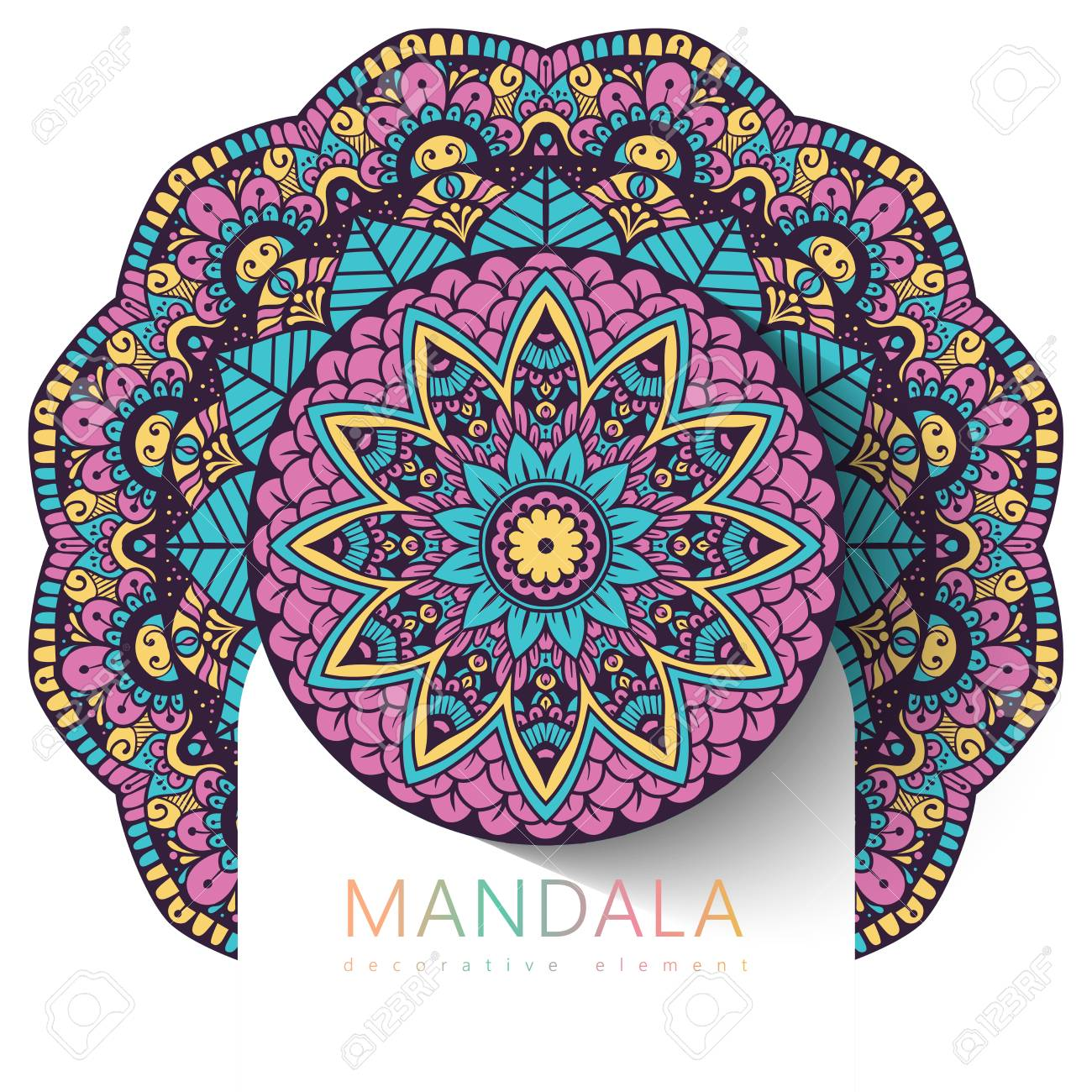 Vector round abstract circle. Mandala style. Decorative element, colored circular design element. Sticker effect. - 122489403