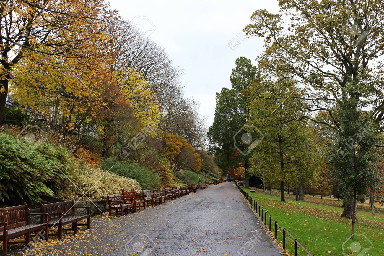 Idyllic View Of Pathway In Princes Street Garden With Autumn.. Stock ...
