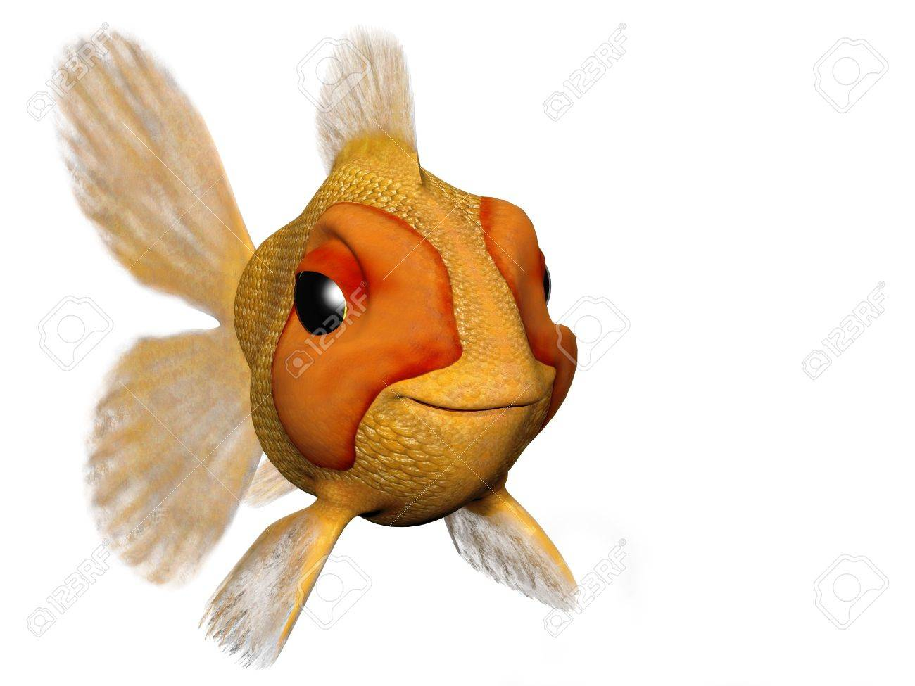 A cartoon goldfish looking very happy and content. Stock Photo - 3681925