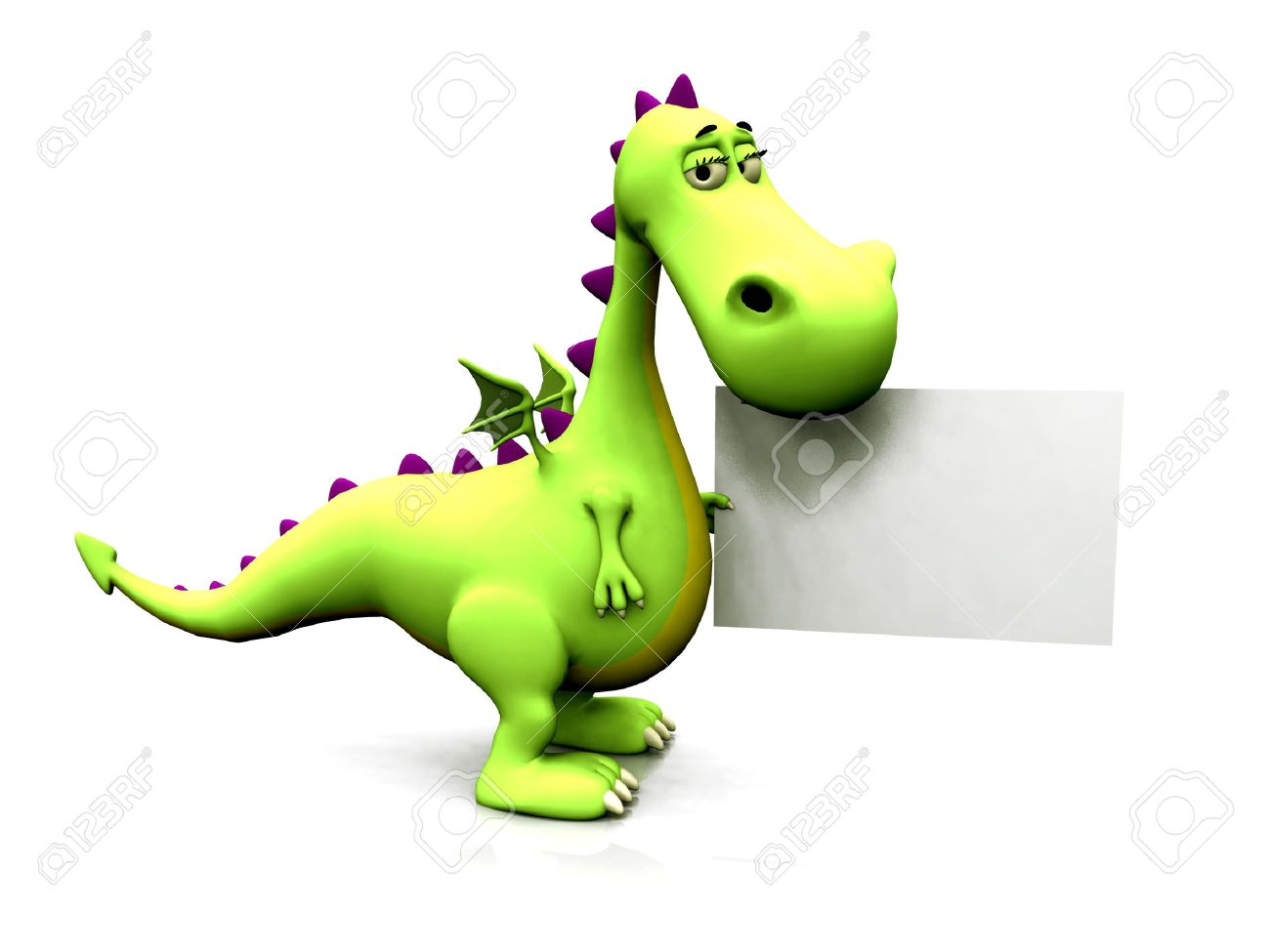 A cute cartoon dragon holding a blank sign in its hands. Stock Photo - 4123441