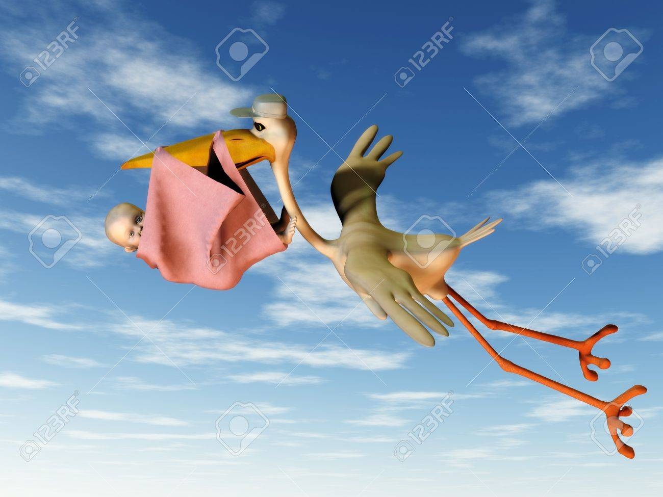 A flying stork holding a baby in a blanket in its beak. Stock Photo - 4169329
