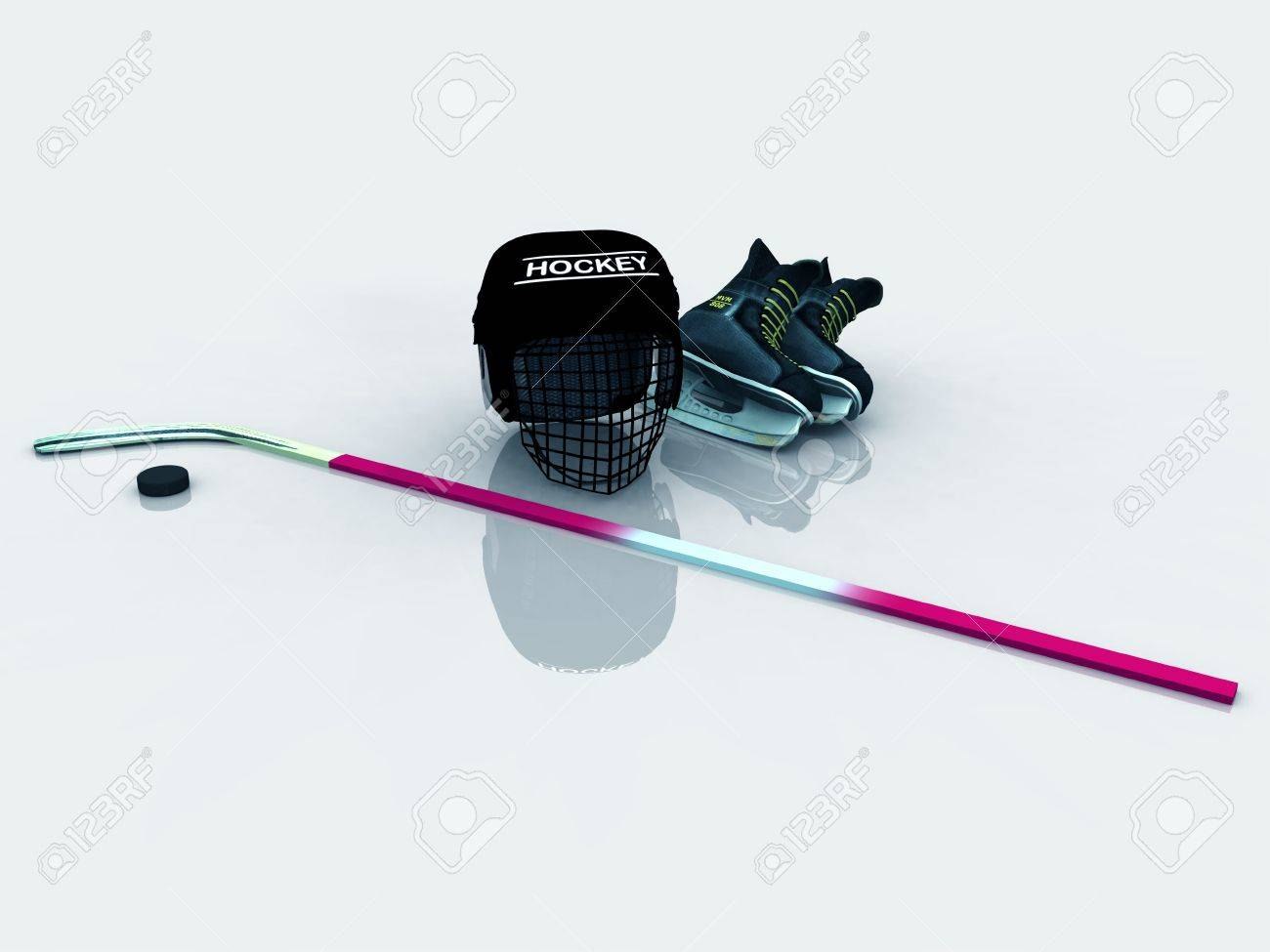 a collection of hockey gear helmet skates stick and puck