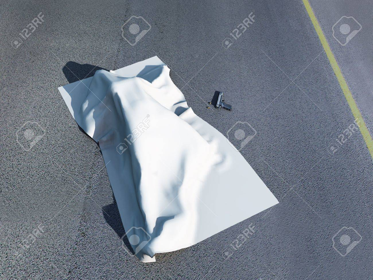 3d rendering of a murder scene with a dead body under a homicide cloth with a gun beside it. Stock Photo - 4636541