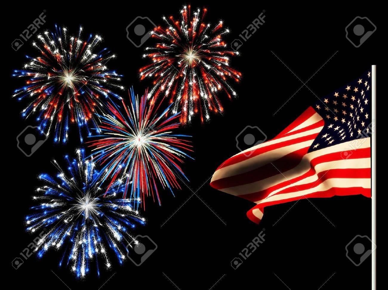 fireworks on the 4th of july and the american flag stock photo 4762671